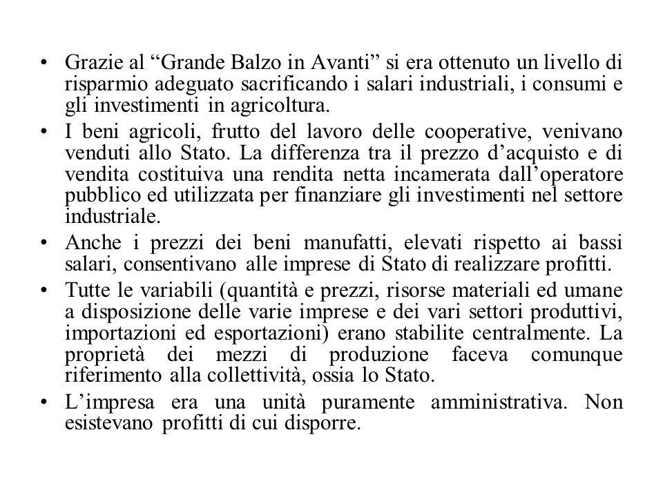 Grazie al Grande Balzo in Avanti si era ottenuto un livello di risparmio adeguato sacrificando i salari industriali, i consumi e gli investimenti in agricoltura.