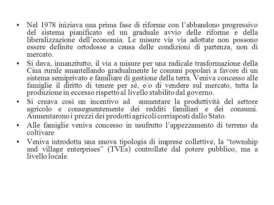 Nel 1978 iniziava una prima fase di riforme con l'abbandono progressivo del sistema pianificato ed un graduale avvio delle riforme e della liberalizzazione dell'economia. Le misure via via adottate non possono essere definite ortodosse a causa delle condizioni di partenza, non di mercato.