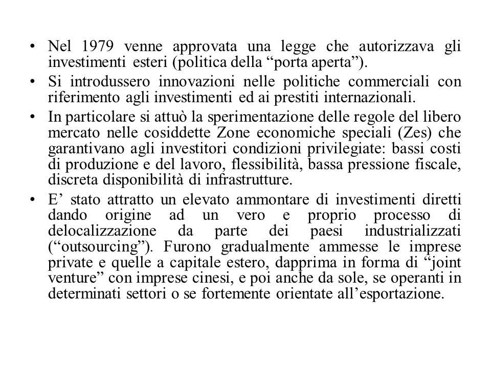 Nel 1979 venne approvata una legge che autorizzava gli investimenti esteri (politica della porta aperta ).