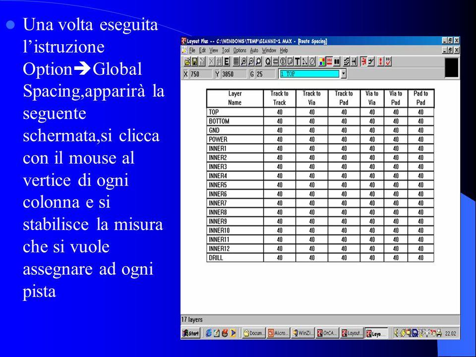 Una volta eseguita l'istruzione OptionGlobal Spacing,apparirà la seguente schermata,si clicca con il mouse al vertice di ogni colonna e si stabilisce la misura che si vuole assegnare ad ogni pista