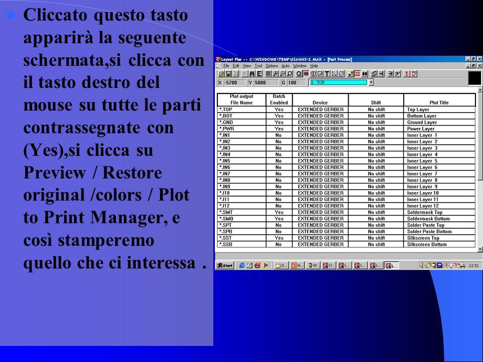 Cliccato questo tasto apparirà la seguente schermata,si clicca con il tasto destro del mouse su tutte le parti contrassegnate con (Yes),si clicca su Preview / Restore original /colors / Plot to Print Manager, e così stamperemo quello che ci interessa .