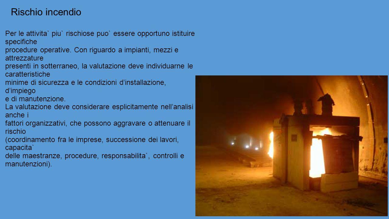 Rischio incendio Per le attivita` piu` rischiose puo` essere opportuno istituire specifiche.