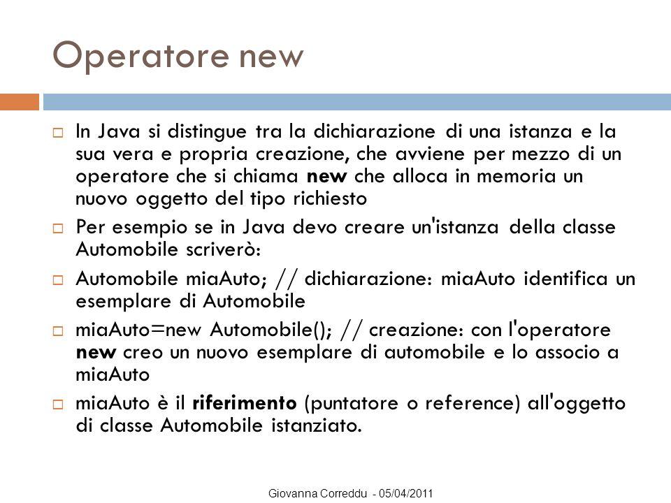 Operatore new