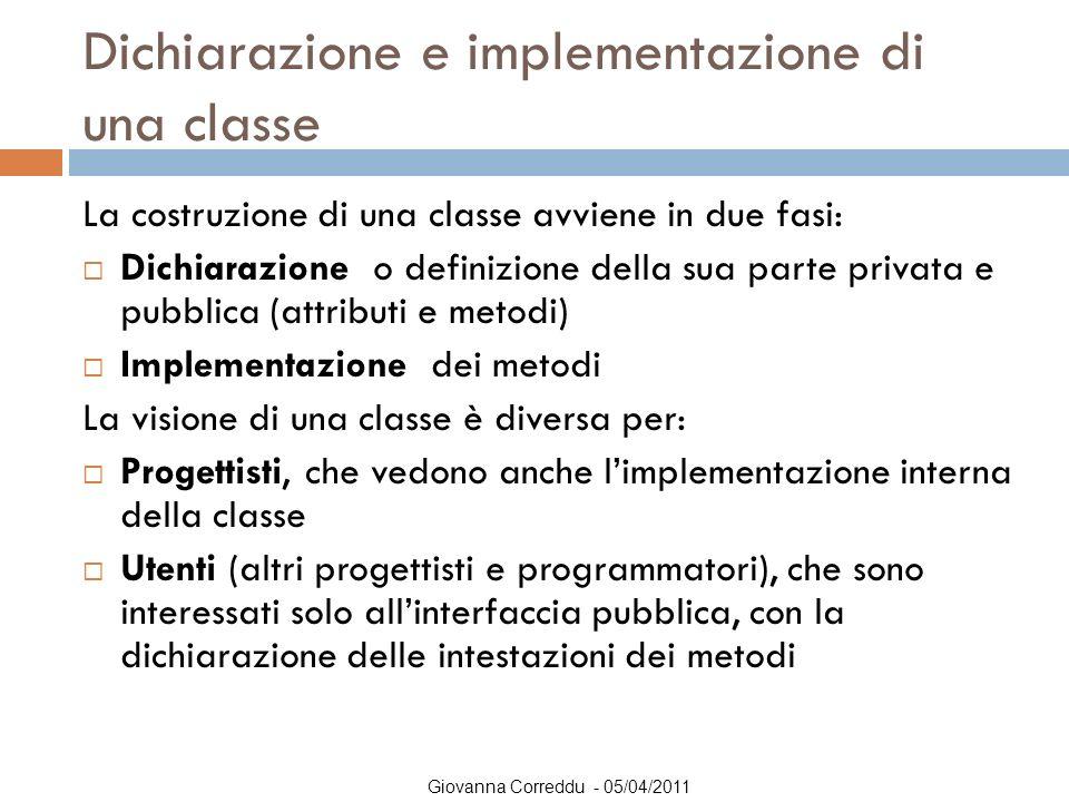 Dichiarazione e implementazione di una classe