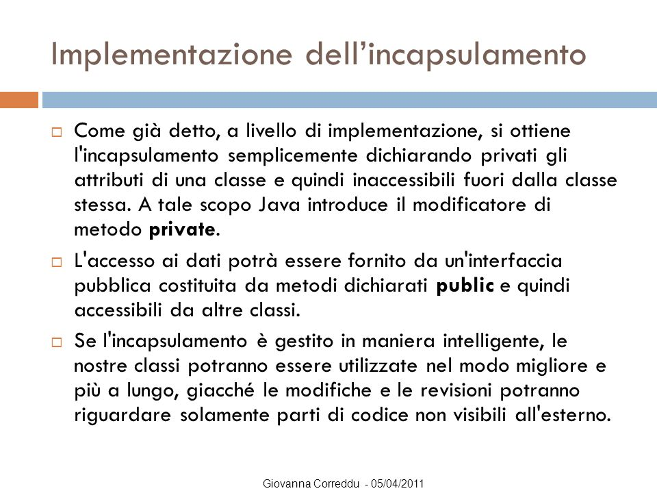 Implementazione dell'incapsulamento