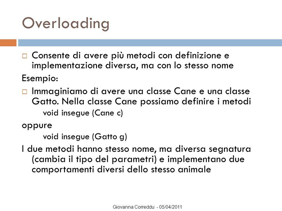 Overloading Consente di avere più metodi con definizione e implementazione diversa, ma con lo stesso nome.