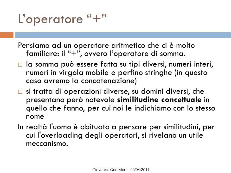 L'operatore + Pensiamo ad un operatore aritmetico che ci è molto familiare: il + , ovvero l'operatore di somma.
