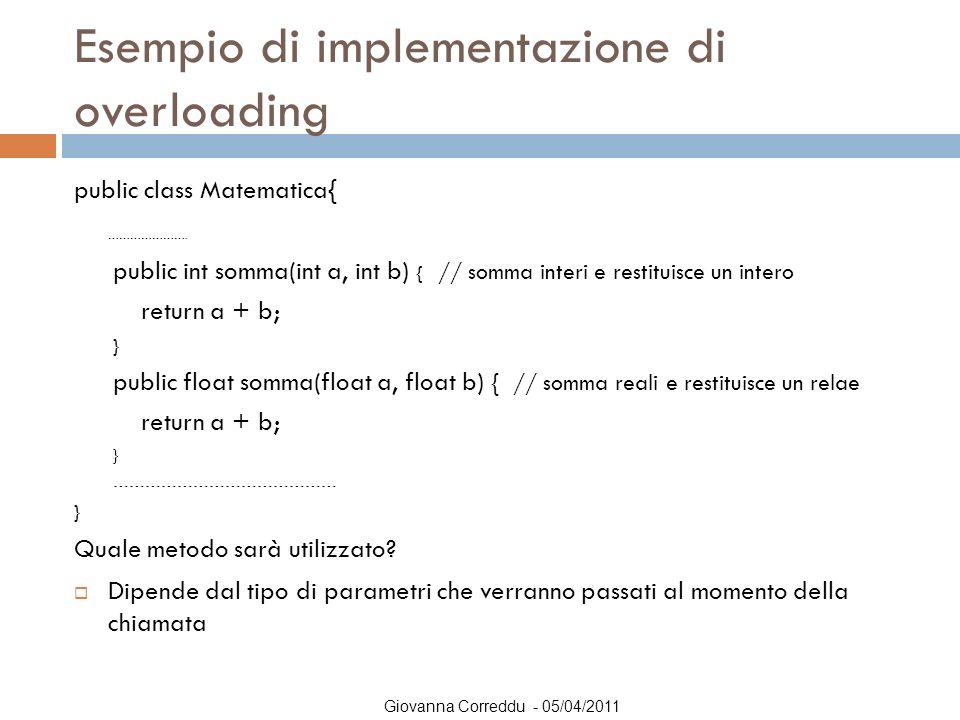 Esempio di implementazione di overloading