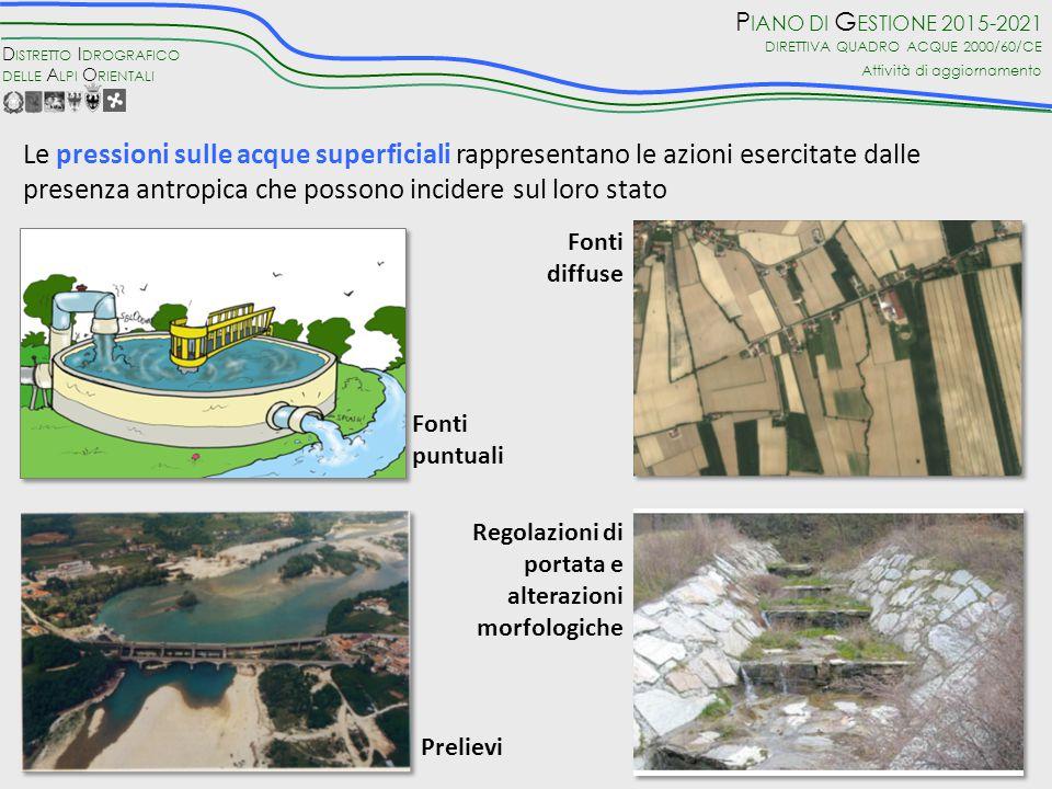 Le pressioni sulle acque superficiali rappresentano le azioni esercitate dalle presenza antropica che possono incidere sul loro stato