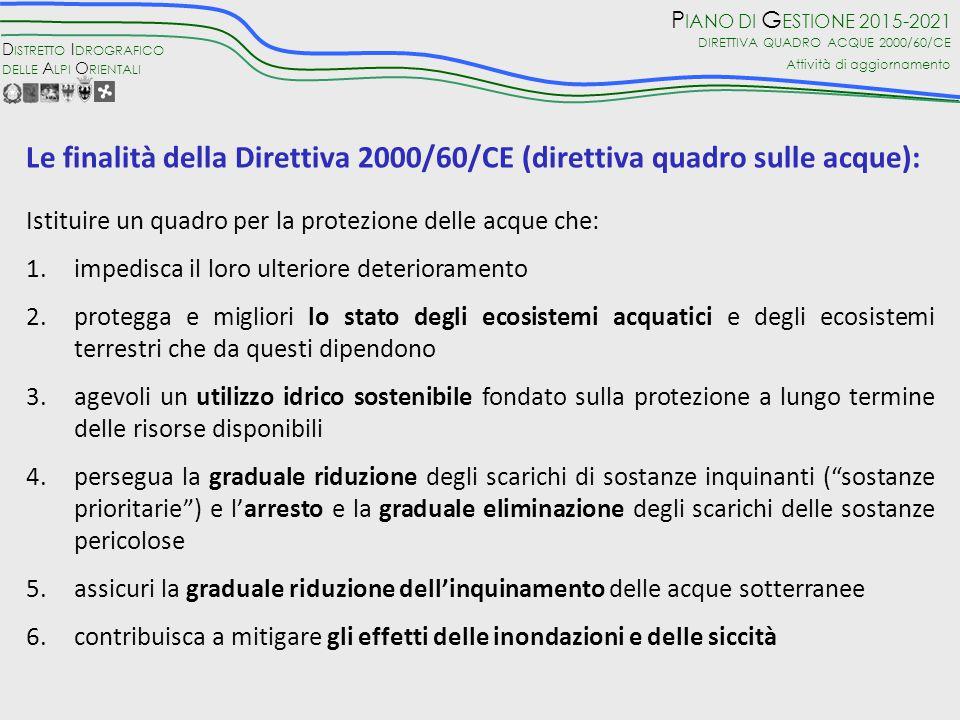 Le finalità della Direttiva 2000/60/CE (direttiva quadro sulle acque):