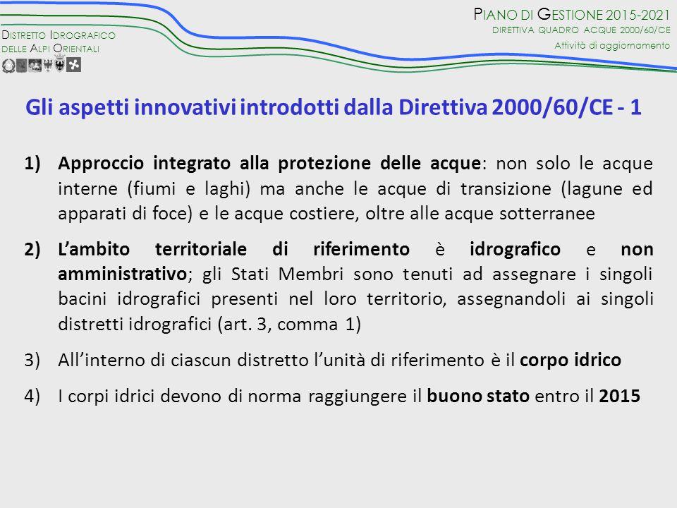 Gli aspetti innovativi introdotti dalla Direttiva 2000/60/CE - 1