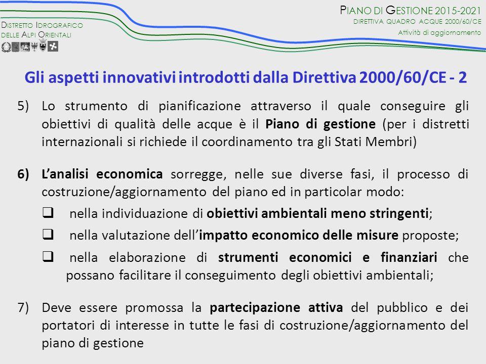 Gli aspetti innovativi introdotti dalla Direttiva 2000/60/CE - 2