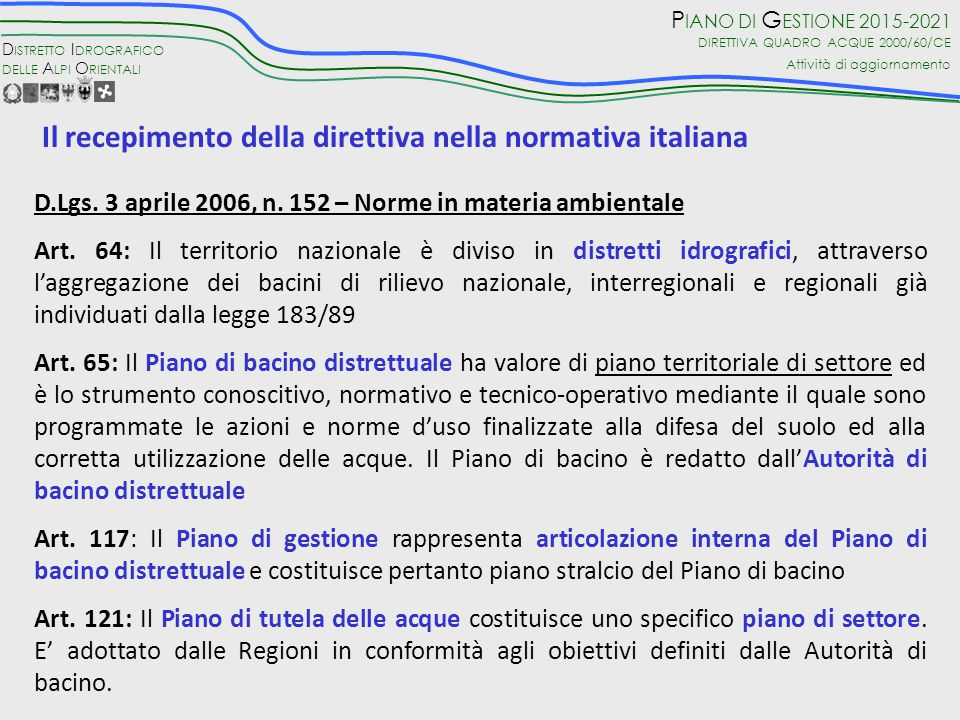 Il recepimento della direttiva nella normativa italiana