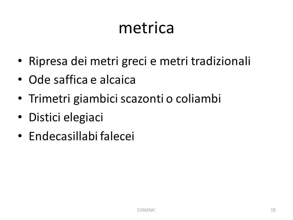 metrica Ripresa dei metri greci e metri tradizionali