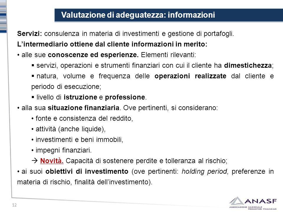 Valutazione di adeguatezza: informazioni