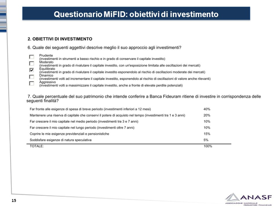 Questionario MiFID: obiettivi di investimento
