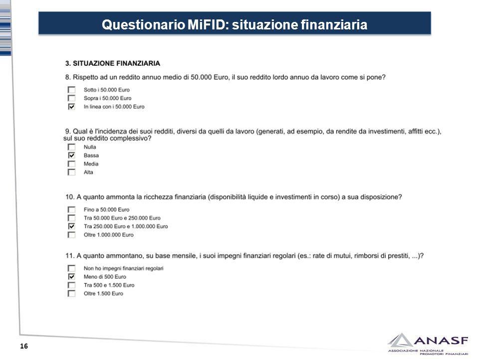 Questionario MiFID: situazione finanziaria