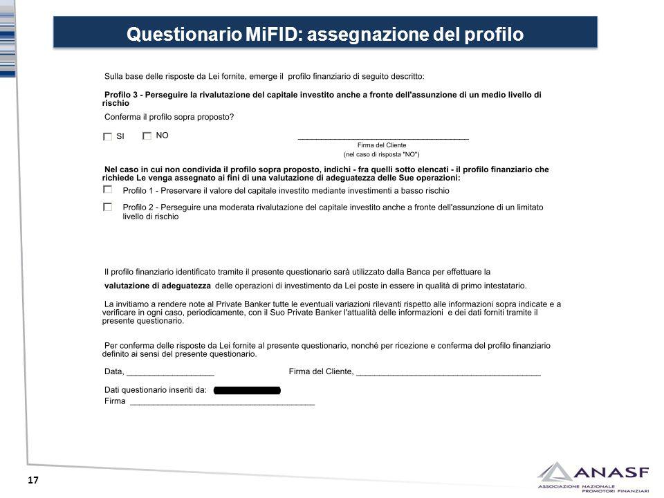 Questionario MiFID: assegnazione del profilo