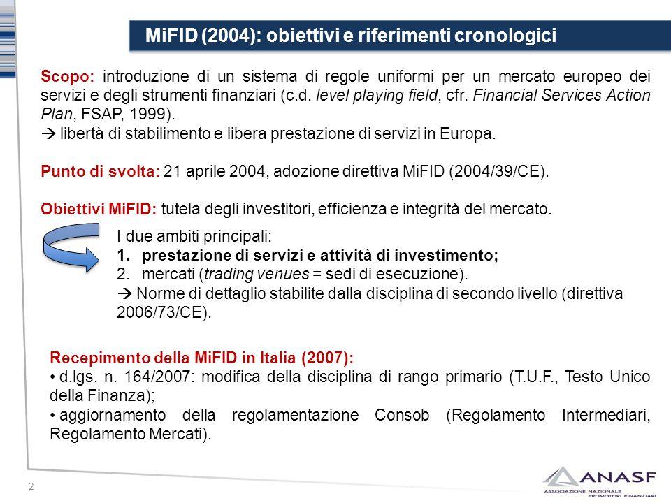 MiFID (2004): obiettivi e riferimenti cronologici