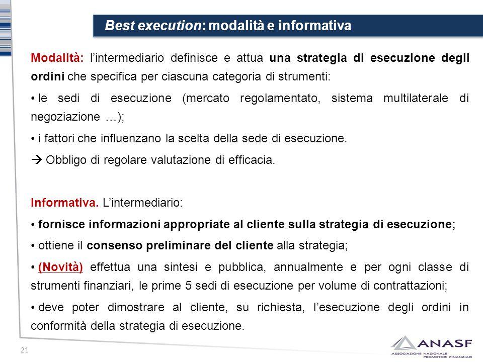 Best execution: modalità e informativa