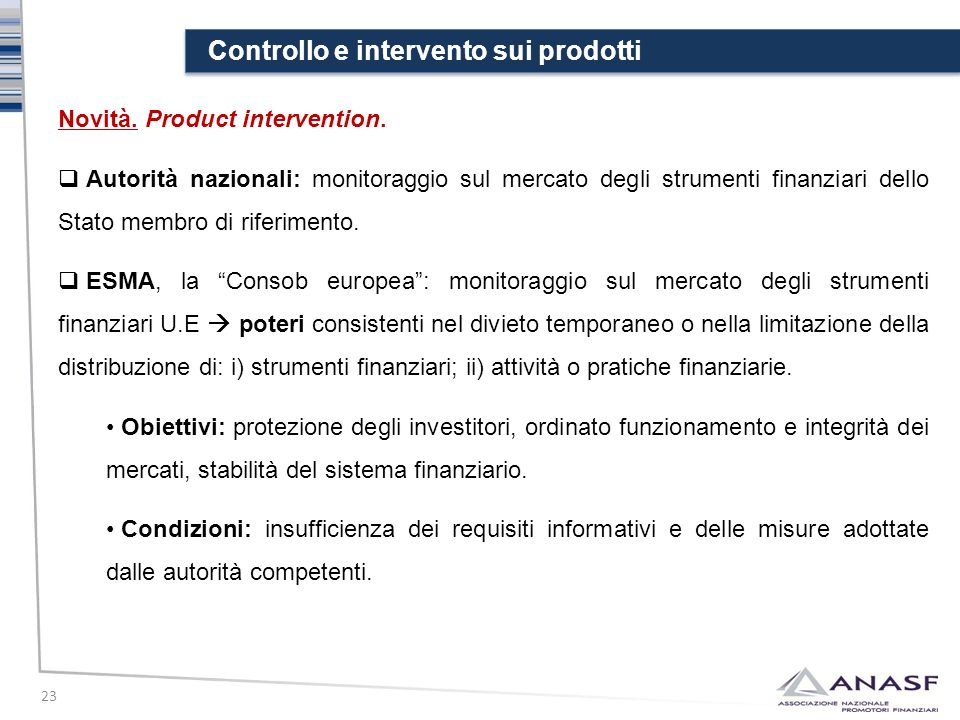 Controllo e intervento sui prodotti