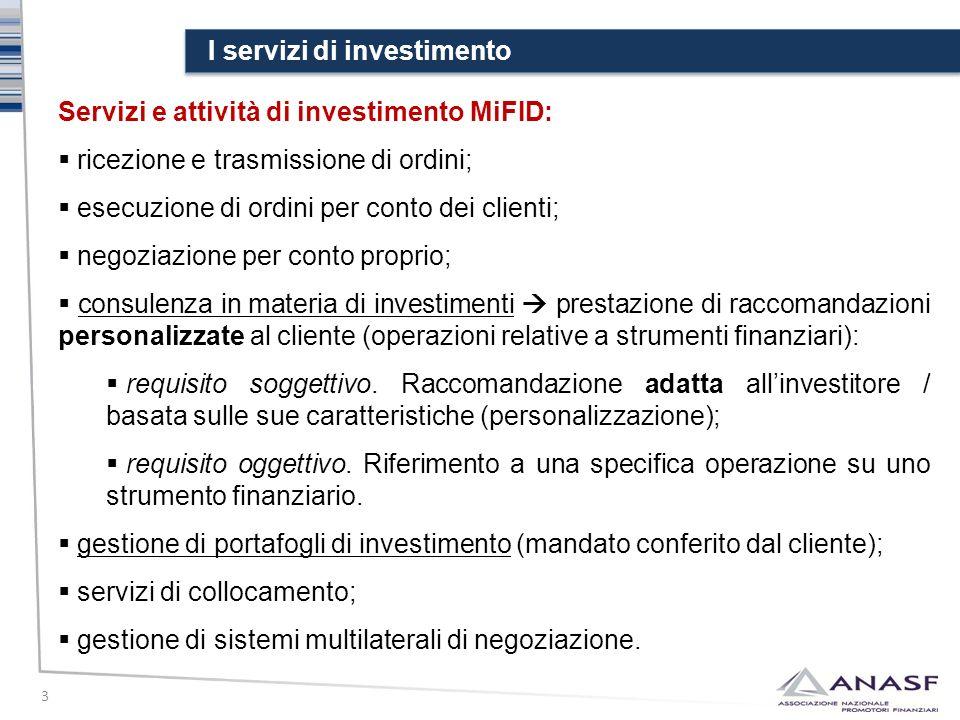 I servizi di investimento