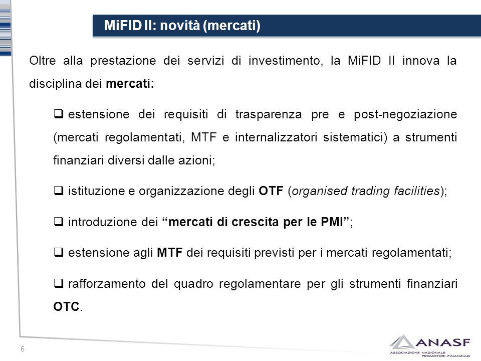 MiFID II: novità (mercati)