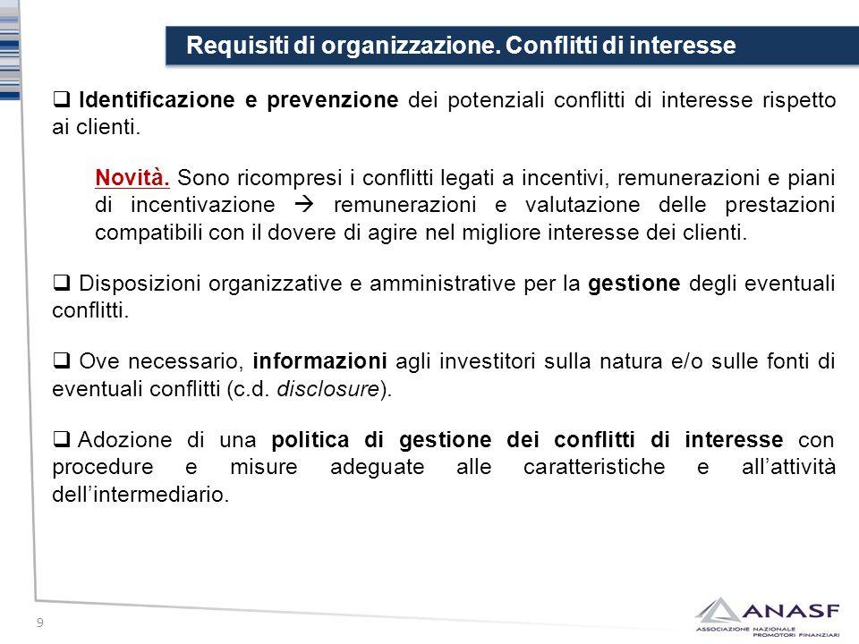 Requisiti di organizzazione. Conflitti di interesse