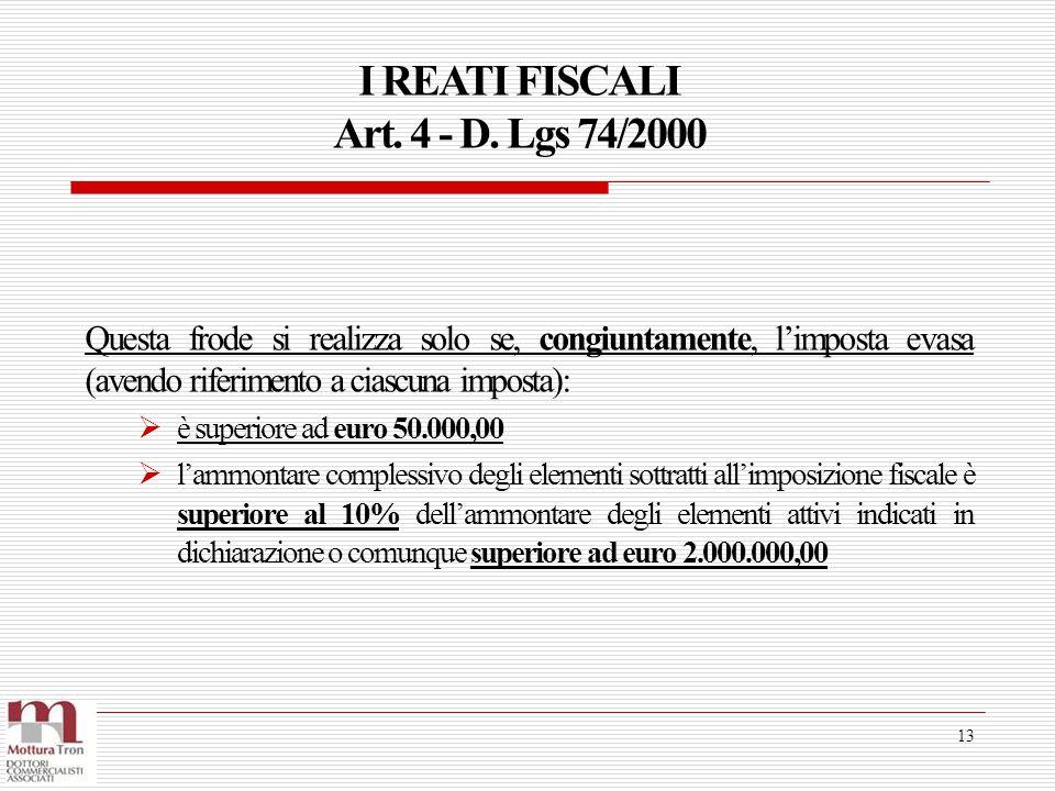 I REATI FISCALI Art. 4 - D. Lgs 74/2000