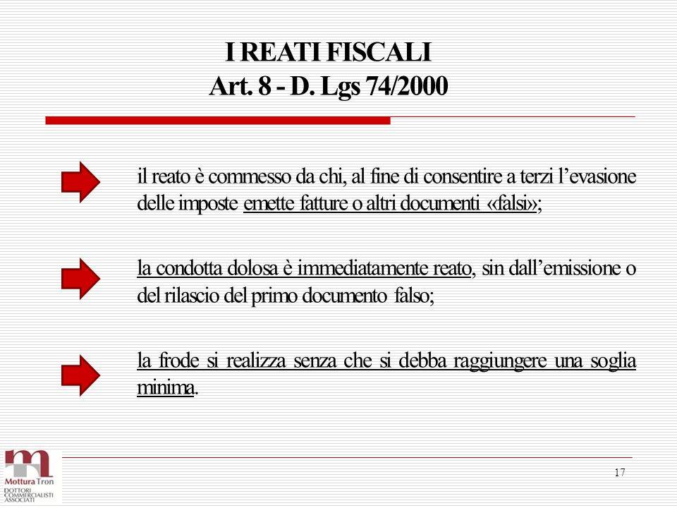 I REATI FISCALI Art. 8 - D. Lgs 74/2000