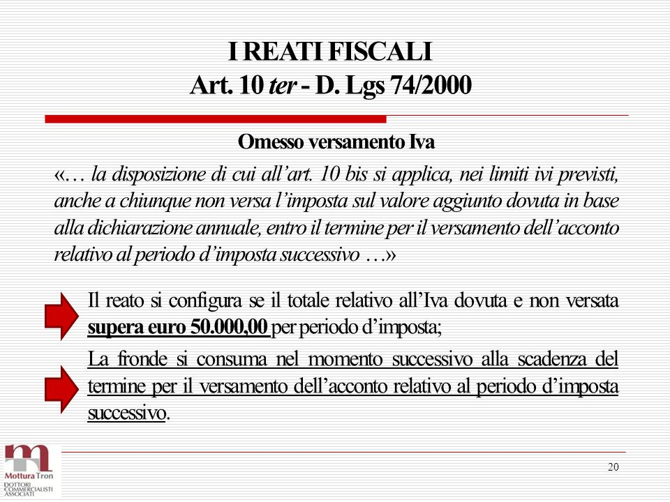 I REATI FISCALI Art. 10 ter - D. Lgs 74/2000