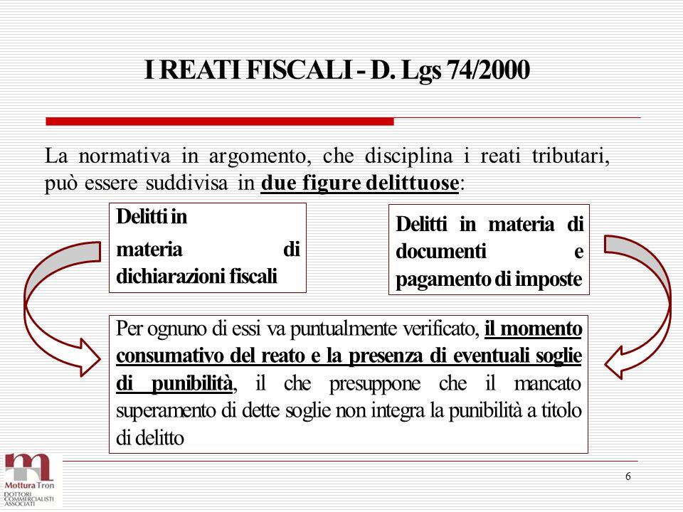 I REATI FISCALI - D. Lgs 74/2000 La normativa in argomento, che disciplina i reati tributari, può essere suddivisa in due figure delittuose: