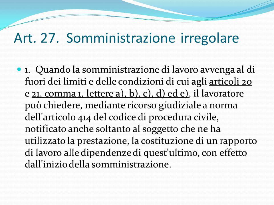 Art. 27. Somministrazione irregolare