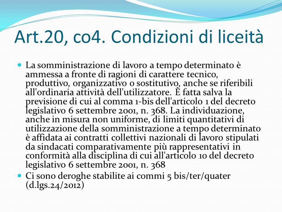 Art.20, co4. Condizioni di liceità