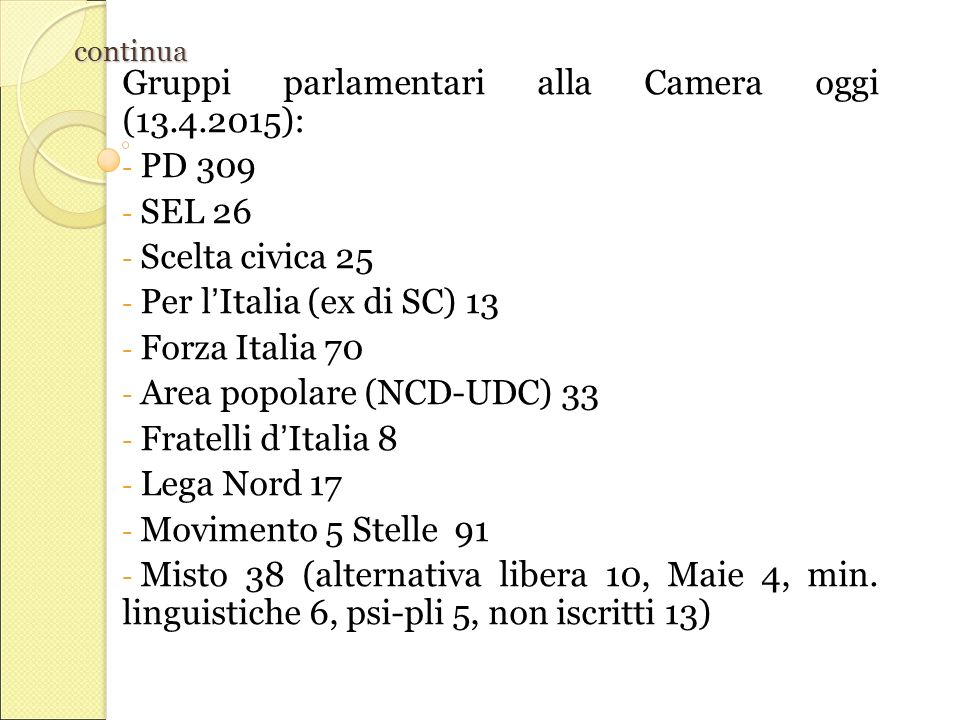Gruppi parlamentari alla Camera oggi (13.4.2015): PD 309 SEL 26