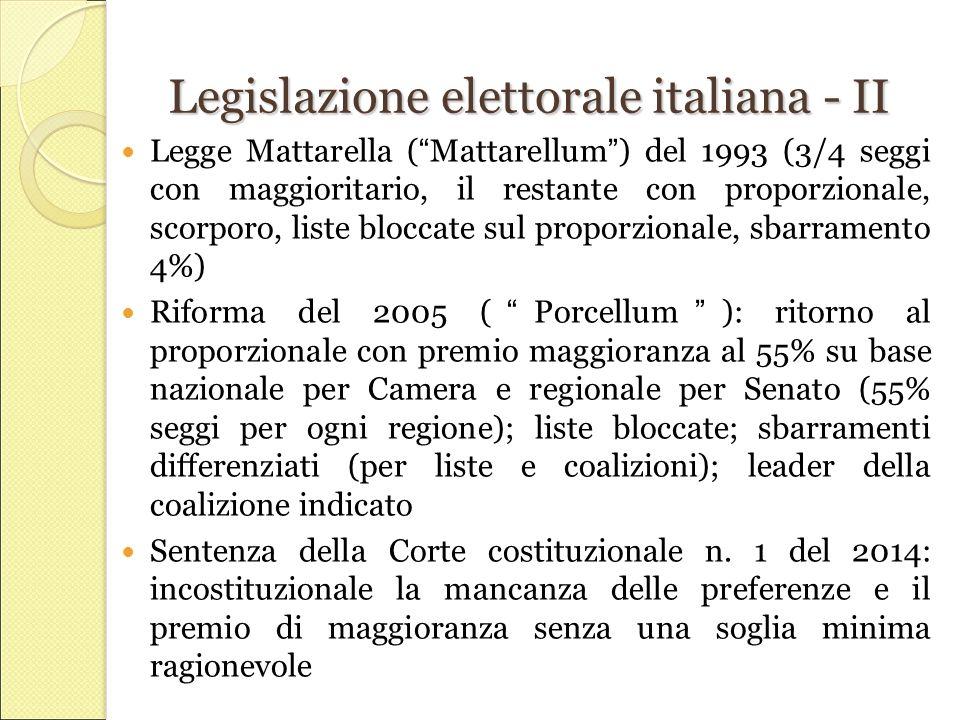Legislazione elettorale italiana - II