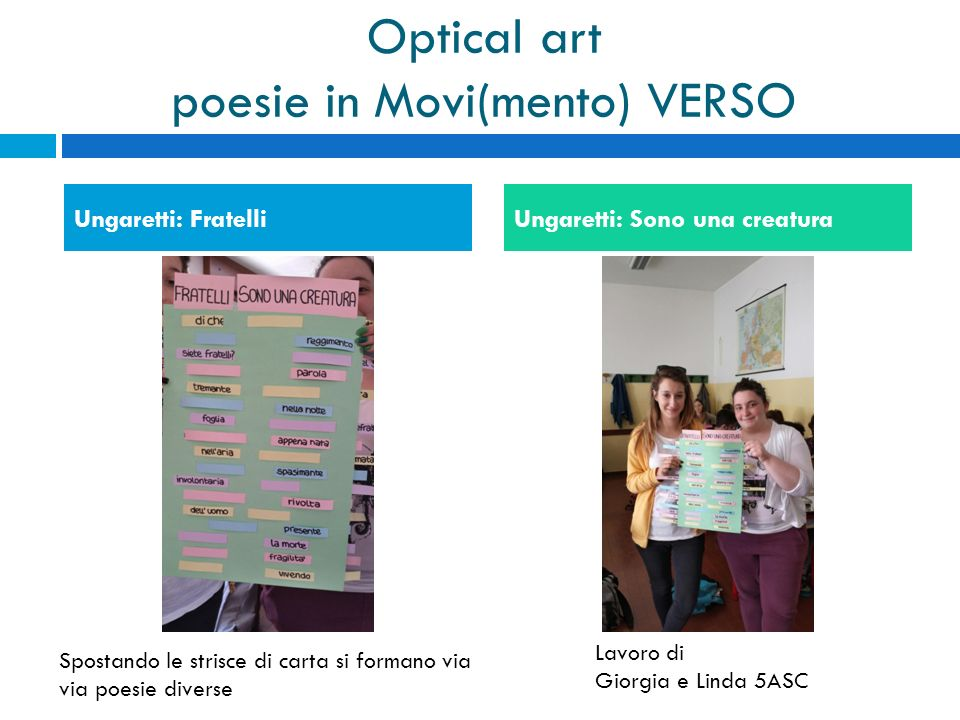 Optical art poesie in Movi(mento) VERSO
