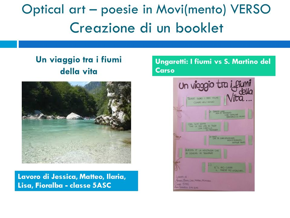 Optical art – poesie in Movi(mento) VERSO Creazione di un booklet