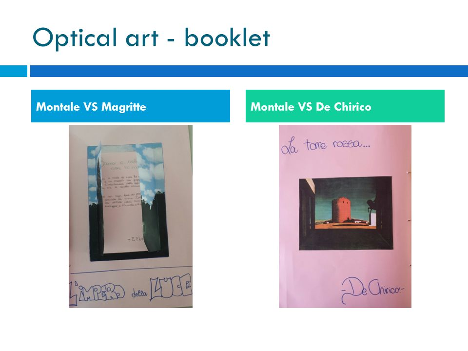 Optical art - booklet Montale VS Magritte Montale VS De Chirico