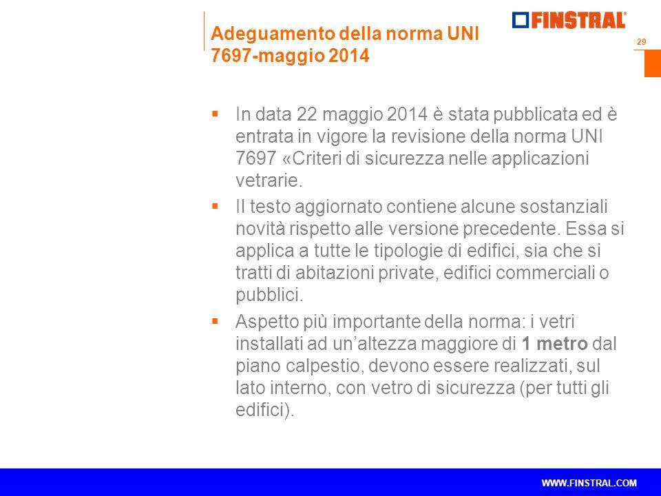 Adeguamento della norma UNI 7697-maggio 2014