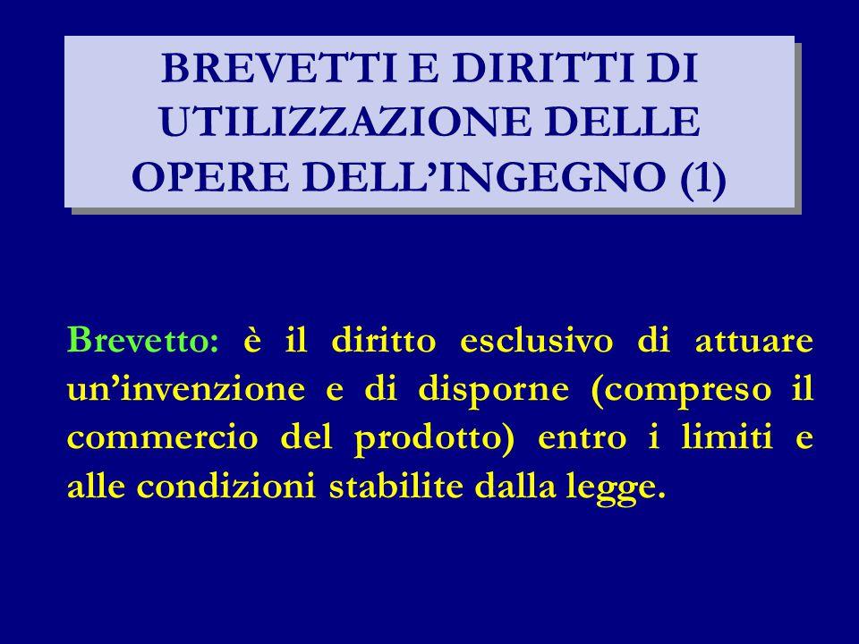 BREVETTI E DIRITTI DI UTILIZZAZIONE DELLE OPERE DELL'INGEGNO (1)