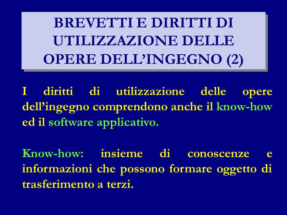 BREVETTI E DIRITTI DI UTILIZZAZIONE DELLE OPERE DELL'INGEGNO (2)