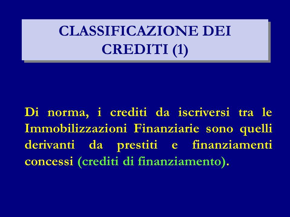 CLASSIFICAZIONE DEI CREDITI (1)