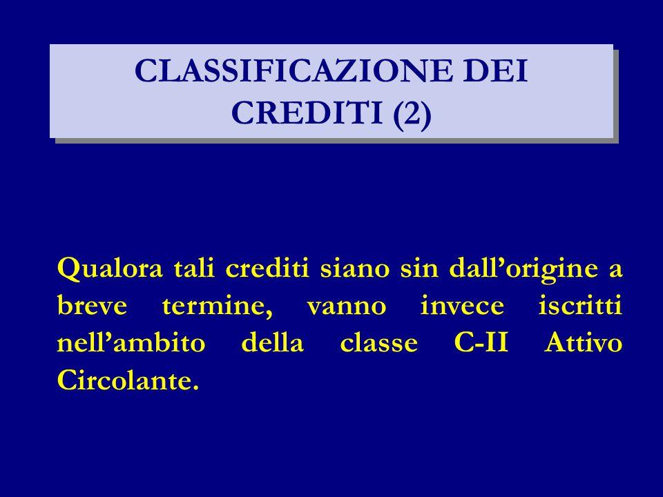 CLASSIFICAZIONE DEI CREDITI (2)