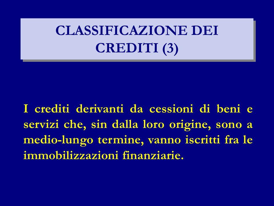 CLASSIFICAZIONE DEI CREDITI (3)