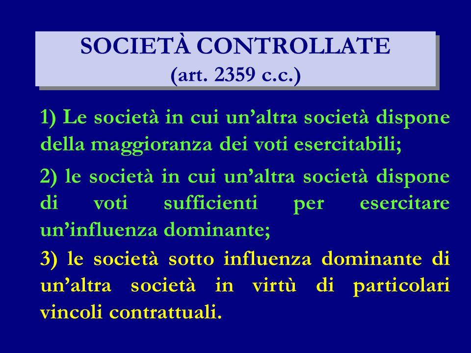 SOCIETÀ CONTROLLATE (art. 2359 c.c.)