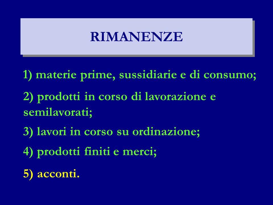 RIMANENZE 1) materie prime, sussidiarie e di consumo;