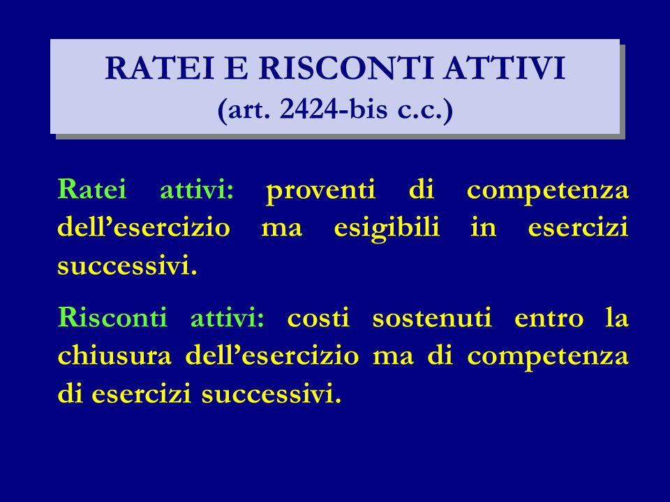 RATEI E RISCONTI ATTIVI (art. 2424-bis c.c.)