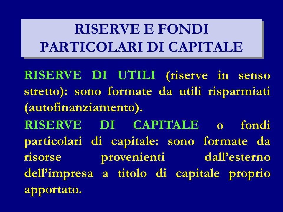RISERVE E FONDI PARTICOLARI DI CAPITALE