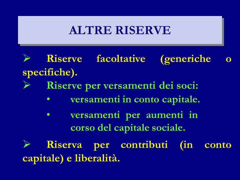 ALTRE RISERVE Riserve facoltative (generiche o specifiche).